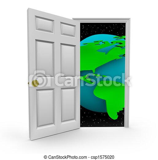 世界, ドア, 機会 - csp1575020