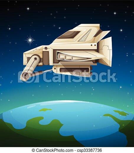 世界 上に 飛行 宇宙船 イラスト