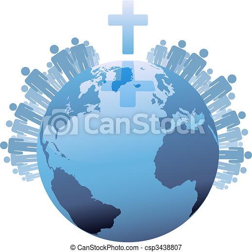 世界, 下に, populations, 地球, 交差点, 世界的である, キリスト教徒 - csp3438807