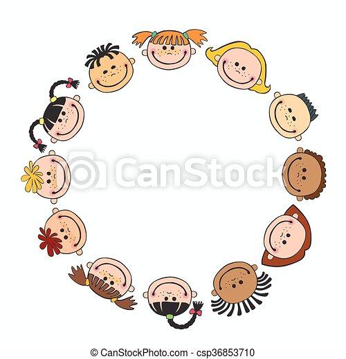 世界, 微笑, 背景, 白, 子供, 円, 子供 - csp36853710