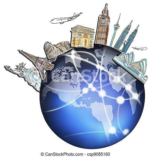 世界 旅行, whiteboard, 夢, のまわり - csp9085160