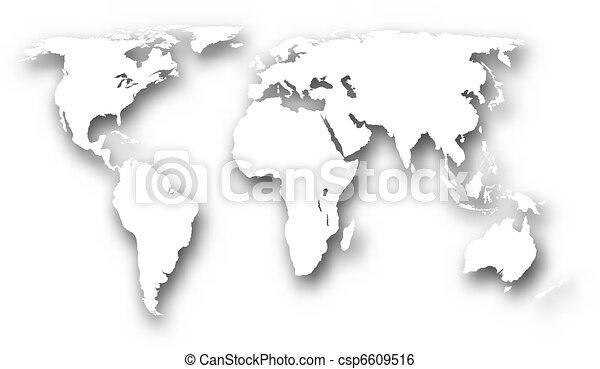 世界, 白, 地図 - csp6609516
