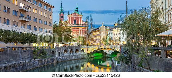 中世, europe., ljubljana, スロベニア, ロマンチック - csp23115426