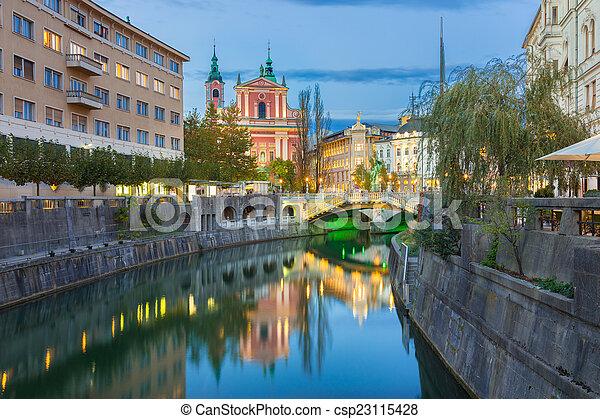 中世, europe., ljubljana, スロベニア, ロマンチック - csp23115428