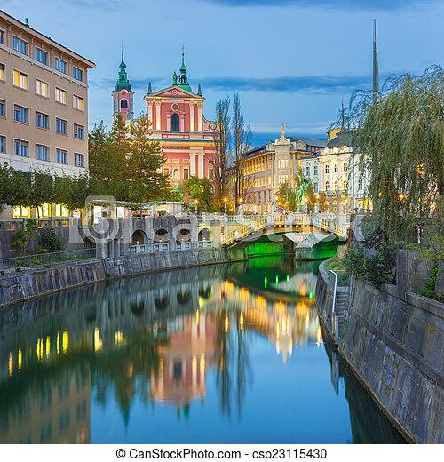 中世, europe., ljubljana, スロベニア, ロマンチック - csp23115430
