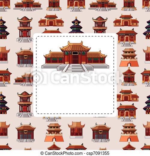 中国語, 家, seamless, パターン, 漫画 - csp7091355