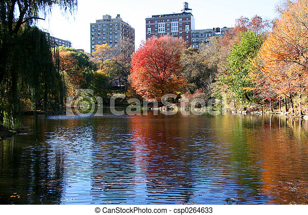 中央である, 新しい, 公園, ヨーク, 秋 - csp0264633