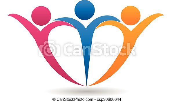 中心の 形, 幸せな家族, ロゴ - csp30686644