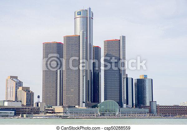 中心, 馬達, 總部, detroit., 市區, 新生, gm, aka, 一般, 建築物 - csp50288559