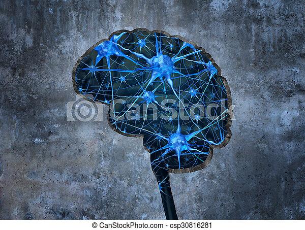 中, 神経学, 人間 - csp30816281