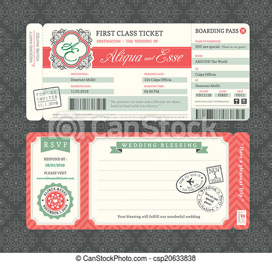 乗ること, 型, パス, 招待, テンプレート, 結婚式 - csp20633838