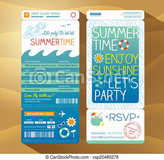 乗ること, 夏, 夏, 背景, パス, パーティー, 休日, カード, テンプレート - csp20480278