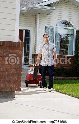 乳母車, 引く, 息子, 父, モデル - csp7981606