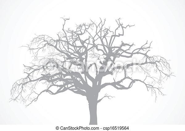 乾きなさい, 木, ベクトル, 古い, オーク, -, 死んだ, なしで, 裸, からす, シルエット, 葉 - csp16519564