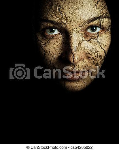 乾きなさい, 皮膚, 割れた, 女性の表面 - csp4265822
