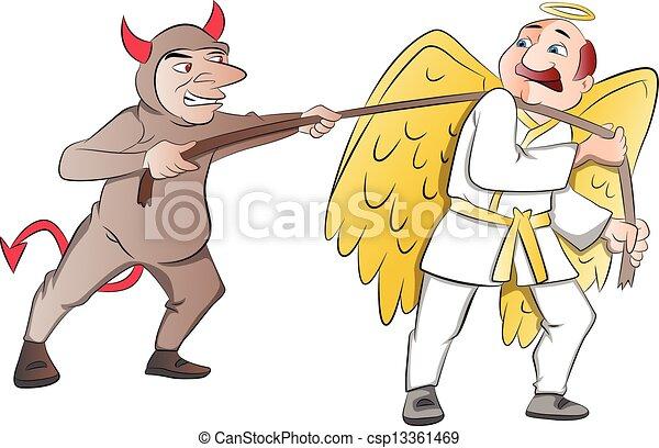 争奪戦 天使 悪魔 イラスト 間に 天使 悪魔 イラスト