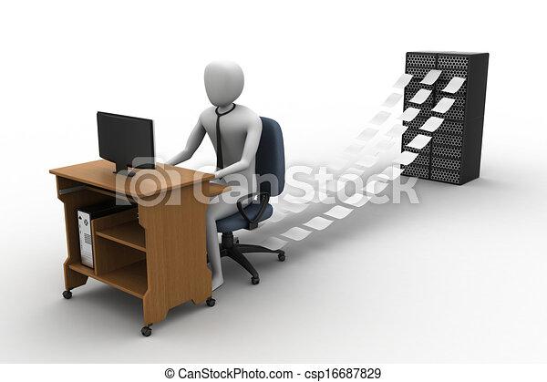 事務員, オフィス, 仕事, 3d - csp16687829
