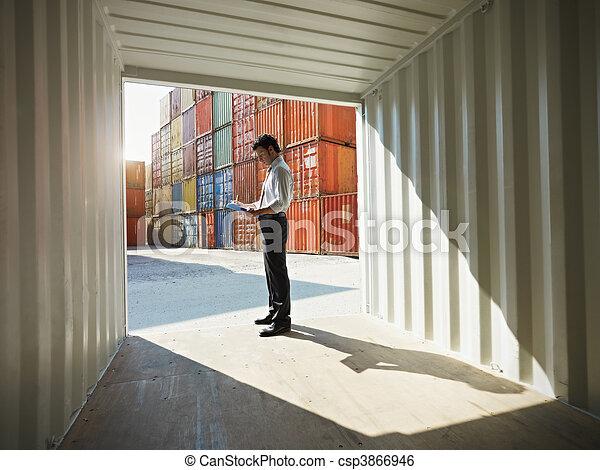 事務, 發貨, 容器, 人 - csp3866946