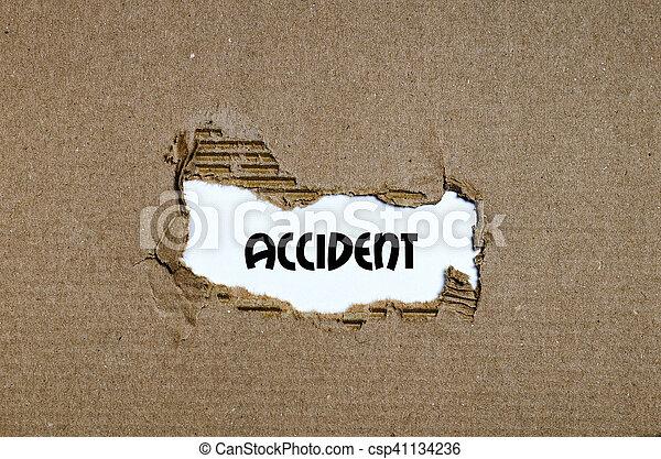 事故, 現われる, 引き裂かれた, の後ろ, ペーパー, 単語 - csp41134236