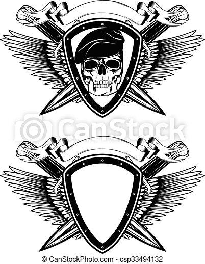 交差させる, ナイフ, 保護, 頭骨, ベレー帽 - csp33494132