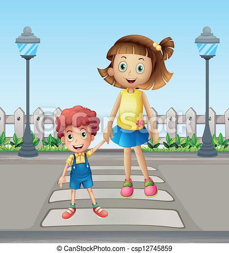 交差, 歩行者, 女の子, 子供 - csp12745859