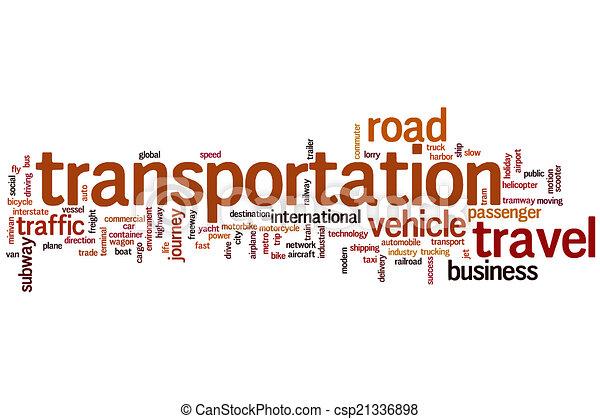 交通機関, 単語, 雲 - csp21336898