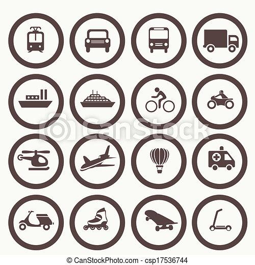 交通機関, 要素, デザイン, アイコン - csp17536744