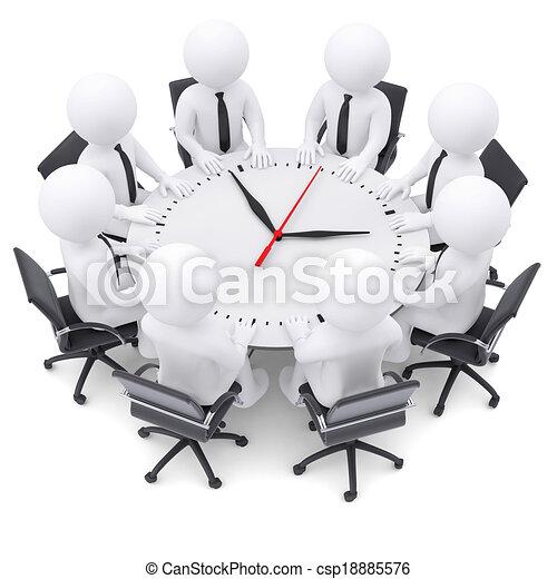 人々のモデル, テーブル, 白, ラウンド, 3d - csp18885576