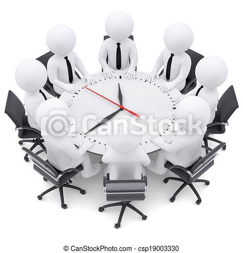 人々のモデル, テーブル, 白, ラウンド, 3d - csp19003330