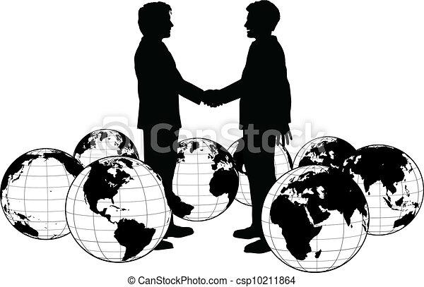 人々ビジネス, 握手, 世界的である, 合意 - csp10211864
