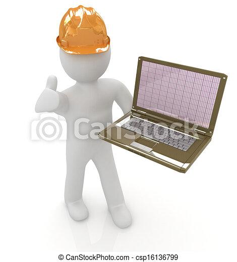 人々, -, エンジニア, 3d, ラップトップ, 小さい - csp16136799