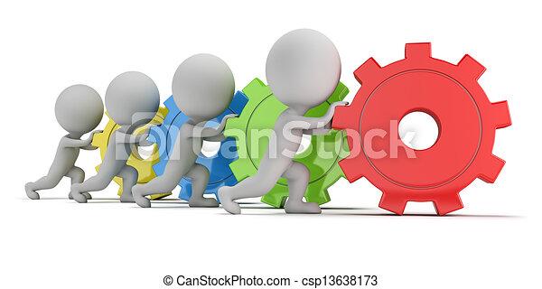 人々, -, ギヤ, チーム, 小さい, 3d - csp13638173