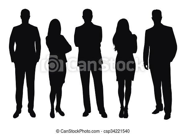 人々, シルエット, セット, ベクトル, ビジネス - csp34221540
