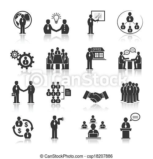 人々, セット, ミーティング, ビジネス アイコン - csp18207886