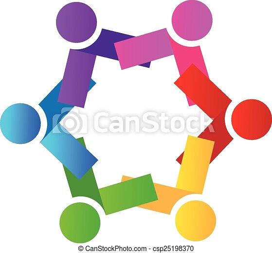人々, チームワーク, ロゴ, アイコン, ベクトル - csp25198370