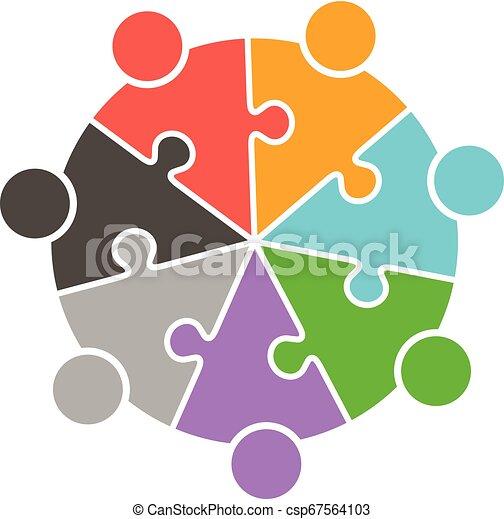 人々, パズル小片, チームワーク, ロゴ, 円 - csp67564103