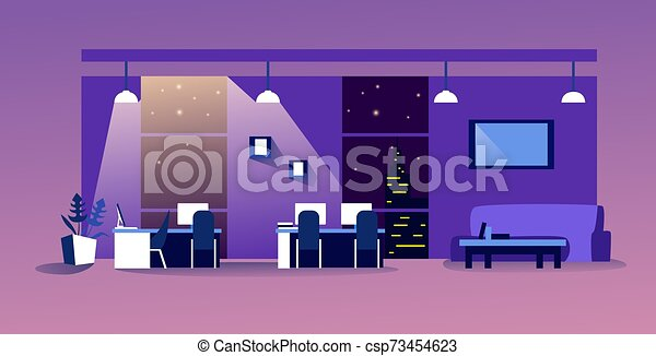 人々, ワークスペース, 横, 夜, 現代, オフィスを空にしなさい, co-working, 内部, スケッチ, 家具, いいえ, キャビネット, 中心, 創造的 - csp73454623