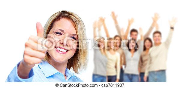 人々。, 女, グループ, 幸せ - csp7811907