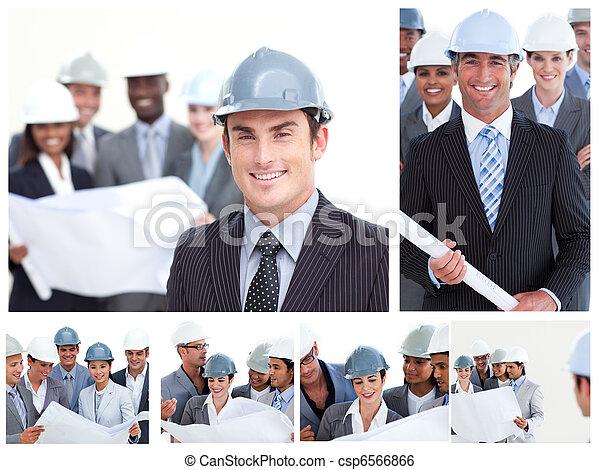 人々, 建設, コラージュ - csp6566866
