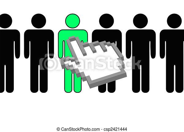 人々, 手, カーソル, 人, selects, ピクセル, 横列 - csp2421444