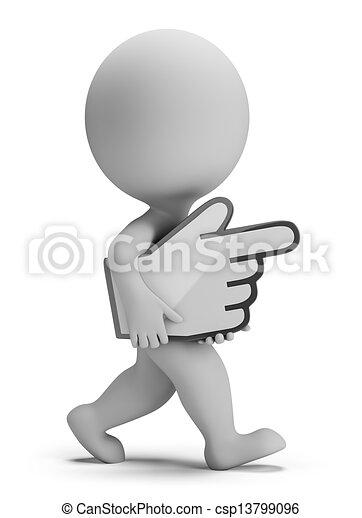 人々, -, 手, カーソル, 届く, 小さい, 3d - csp13799096