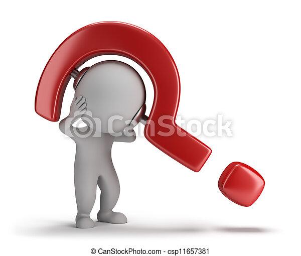 人々, -, 押しつぶすこと, 質問, 小さい, 3d - csp11657381