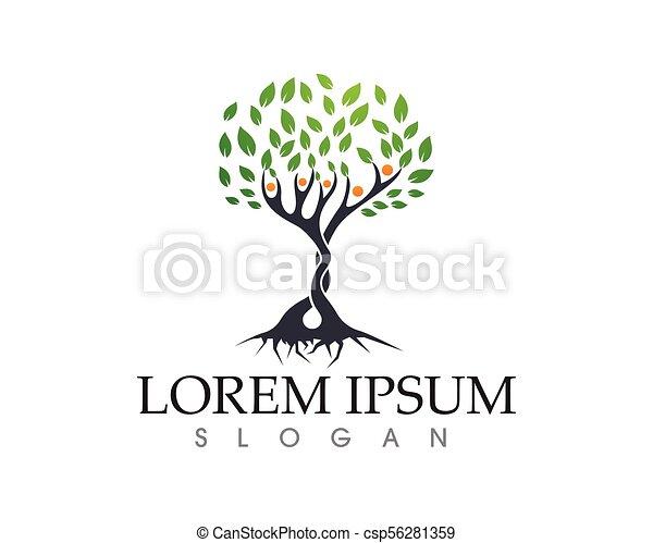 人々, 木, ベクトル, 緑, カード, テンプレート, ロゴ, アイデンティティー - csp56281359