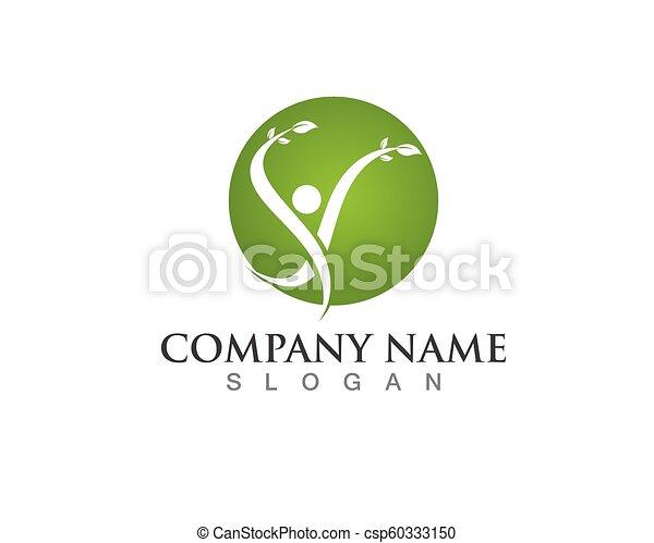 人々, 木, ベクトル, 緑, カード, テンプレート, ロゴ, アイデンティティー - csp60333150