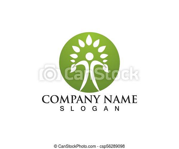 人々, 木, ベクトル, 緑, カード, テンプレート, ロゴ, アイデンティティー - csp56289098