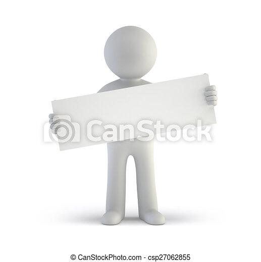 人々, -, 板, ブランク, 小さい, 白, 3d - csp27062855