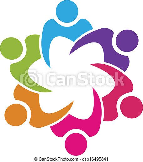人々, 組合, ベクトル, チームワーク, 6, ロゴ - csp16495841