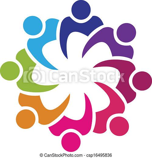 人々, 組合, ベクトル, チームワーク, 8, ロゴ - csp16495836
