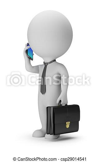 人々, -, 電話, 小さい, ビジネスマン, 3d - csp29014541