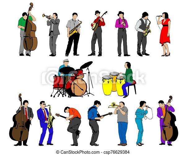 人々, 音楽, ほんの少し, 道具 - csp76629384